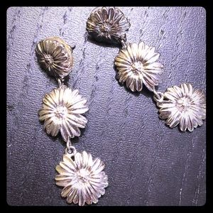 Drop Sunflower Silver Earrings